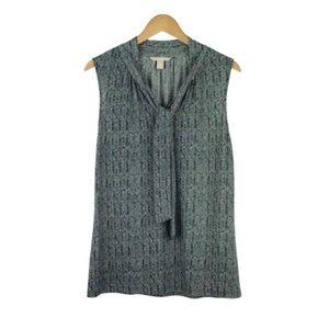 BANANA REPUBLIC | Herringbone Print Tie Neck Top